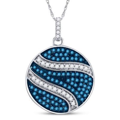 10kt White Gold Womens Round Blue Color Enhanced Diamond Circle Pendant 3/4 Cttw
