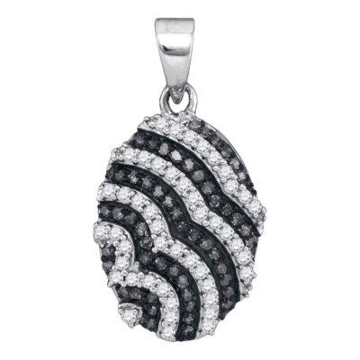 10kt White Gold Womens Round Black Color Enhanced Diamond Oval Pendant 1/3 Cttw