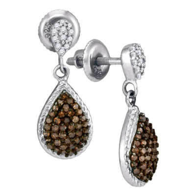 10kt White Gold Womens Round Brown Diamond Teardrop Dangle Earrings 1/2 Cttw