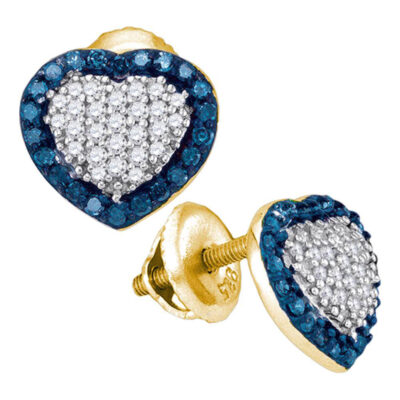 10kt Yellow Gold Womens Round Blue Color Enhanced Diamond Heart Earrings 1/2 Cttw
