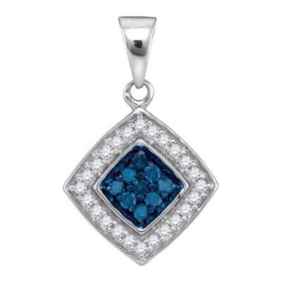 10kt White Gold Womens Round Blue Color Enhanced Diamond Diagonal Square Pendant 1/4 Cttw