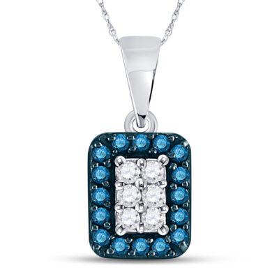 10kt White Gold Womens Round Blue Color Enhanced Diamond Rectangle Cluster Pendant 1/5 Cttw