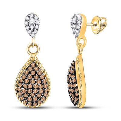 10kt Yellow Gold Womens Round Brown Diamond Teardrop Dangle Earrings 1/2 Cttw