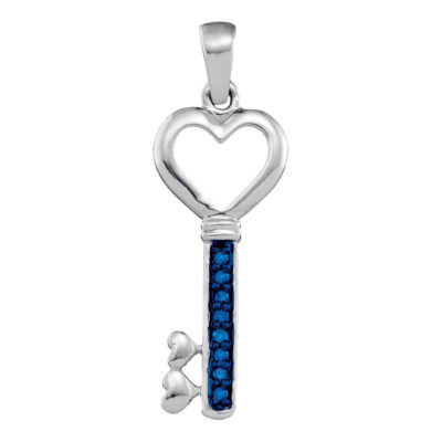 10kt Yellow Gold Womens Round Blue Color Enhanced Diamond Heart Key Pendant 1/20 Cttw