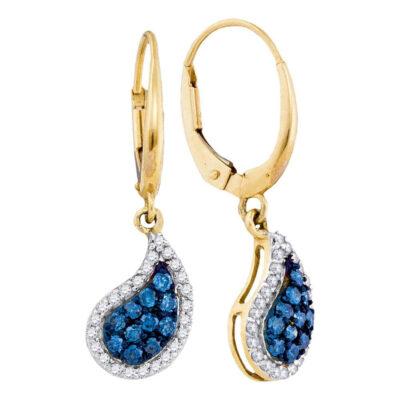 10kt Yellow Gold Womens Round Blue Color Enhanced Diamond Teardrop Dangle Earrings 5/8 Cttw