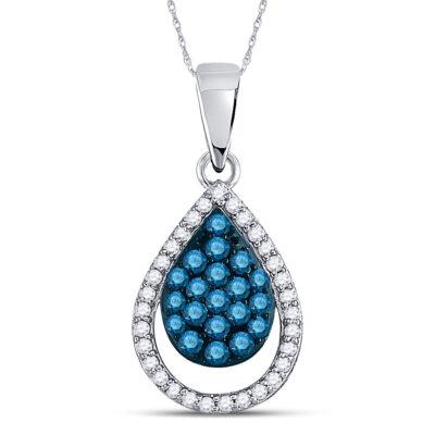 10kt White Gold Womens Round Blue Color Enhanced Diamond Teardrop Pendant 1/2 Cttw