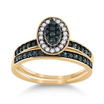 10kt Yellow Gold Round Blue Color Enhanced Diamond Bridal Wedding Ring Band Set 1/2 Cttw