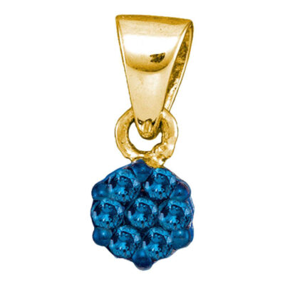 10kt Yellow Gold Womens Round Blue Color Enhanced Diamond Cluster Pendant 1/10 Cttw