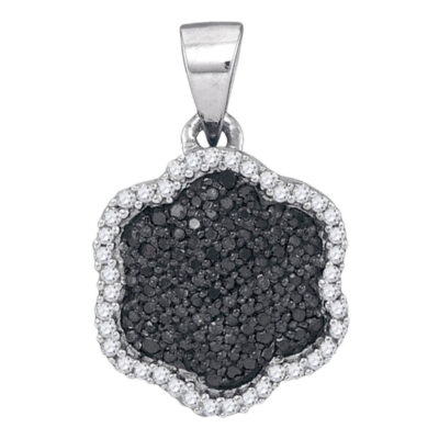 10kt White Gold Womens Round Black Color Enhanced Diamond Hexagon Cluster Pendant 1/4 Cttw