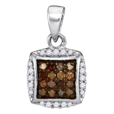 Sterling Silver Womens Round Brown Diamond Square Cluster Pendant 1/4 Cttw
