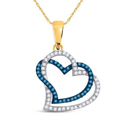 10kt Yellow Gold Womens Round Blue Color Enhanced Diamond Heart Pendant 1/5 Cttw
