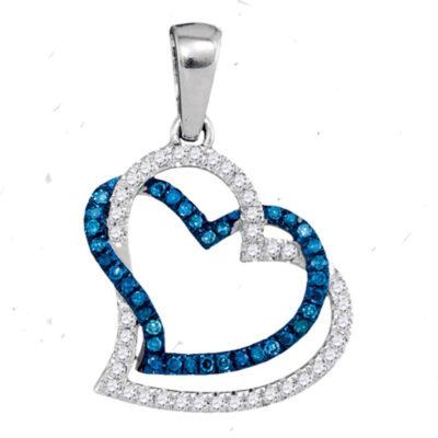 10kt White Gold Womens Round Blue Color Enhanced Diamond Heart Pendant 1/5 Cttw