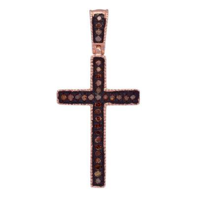 10kt Rose Gold Womens Round Red Color Enhanced Diamond Cross Pendant 1/20 Cttw
