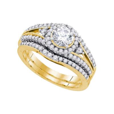 14kt Yellow Gold Round Diamond Bridal Wedding Ring Band Set 1-1/4 Cttw