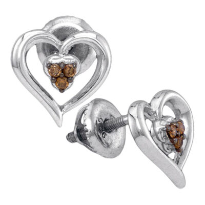Sterling Silver Womens Round Brown Diamond Heart Earrings 1/20 Cttw