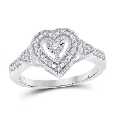 Sterling Silver Womens Round Diamond Heart Ring 1/8 Cttw