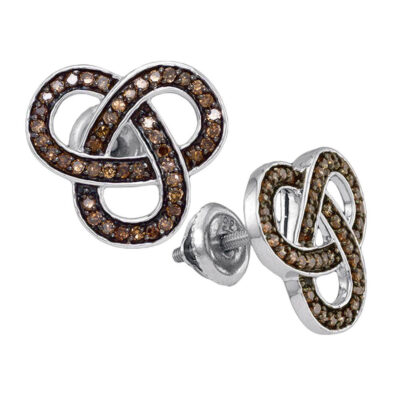 Sterling Silver Womens Round Brown Diamond Trinity Fashion Earrings 1/2 Cttw