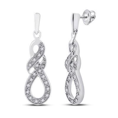 Sterling Silver Womens Round Diamond Dangle Earrings 1/8 Cttw