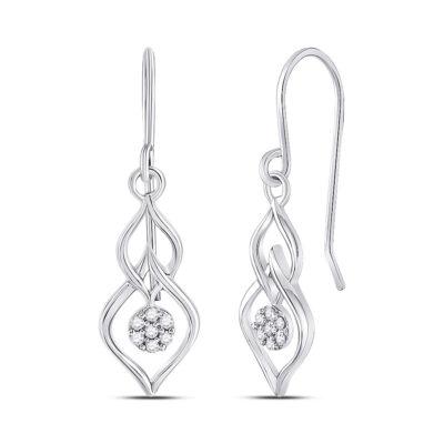 10kt White Gold Womens Round Diamond Dangle Earrings 1/8 Cttw