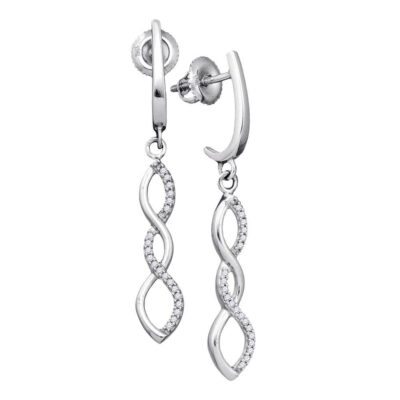 10kt White Gold Womens Round Diamond Infinity Dangle Earrings 1/8 Cttw