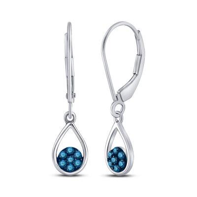 10kt White Gold Womens Round Blue Color Enhanced Diamond Dangle Earrings 1/5 Cttw