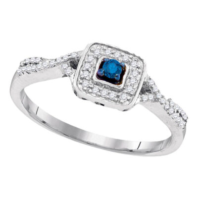Sterling Silver Round Blue Color Enhanced Diamond Solitaire Bridal Wedding Ring 1/6 Cttw