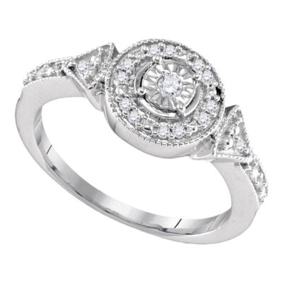 Sterling Silver Womens Round Diamond Halo Solitaire Ring 1/8 Cttw
