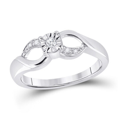Sterling Silver Womens Round Diamond Solitaire Ring 1/20 Cttw
