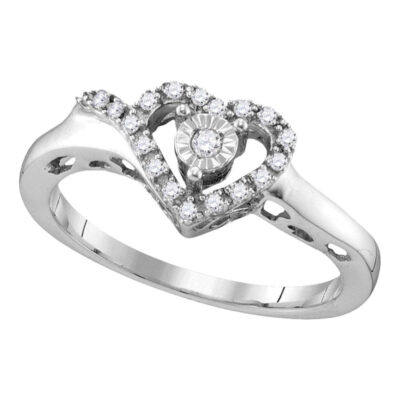 Sterling Silver Womens Round Diamond Heart Ring 1/10 Cttw