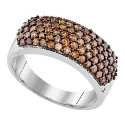 10k White Gold Womens Brown Diamond Cocktail Band Ring 1 Cttw
