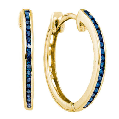 10kt Yellow Gold Womens Round Blue Color Enhanced Diamond Hoop Earrings 1/10 Cttw