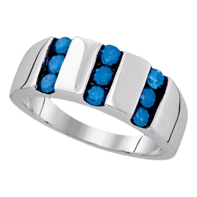 Sterling Silver Mens Round Blue Color Enhanced Channel-set Diamond Triple Row Band 1 Cttw