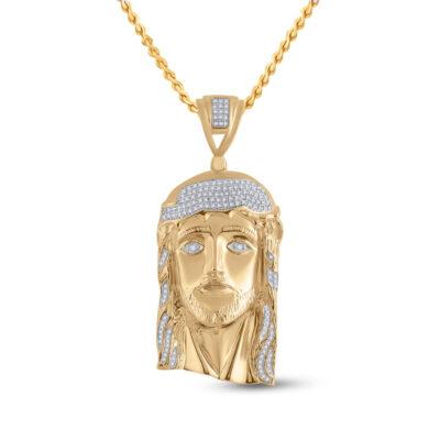 Yellow-tone Sterling Silver Mens Round Diamond Jesus Face Charm Pendant 1/2 Cttw
