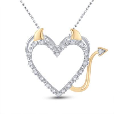 Sterling Silver Womens Round Diamond Devil Naughty Heart Pendant 1/20 Cttw