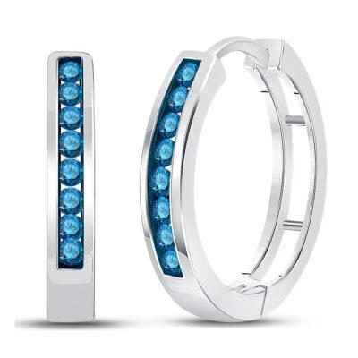 14kt White Gold Womens Round Blue Color Enhanced Diamond Hoop Earrings 1/2 Cttw