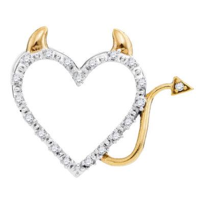 10kt Yellow Gold Womens Round Diamond Angel Heart Pendant 1/20 Cttw