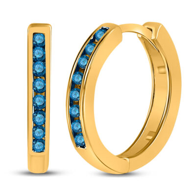 10kt Yellow Gold Womens Round Blue Color Enhanced Diamond Hoop Earrings 1/4 Cttw