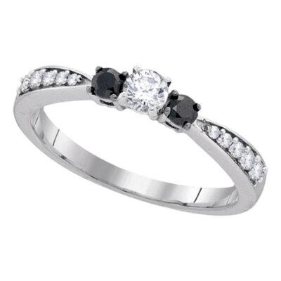 10kt White Gold Round Diamond 3-stone Tapered Bridal Wedding Engagement Ring 3/8 Cttw