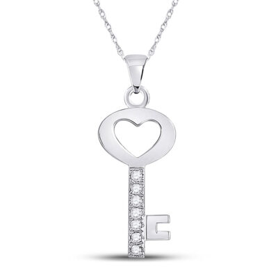 10kt White Gold Womens Round Diamond Key Heart Pendant 1/20 Cttw