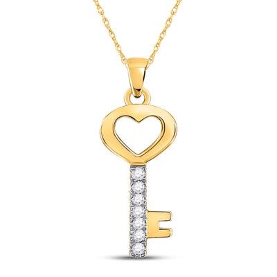 10kt Yellow Gold Womens Round Diamond Key Heart Pendant 1/20 Cttw