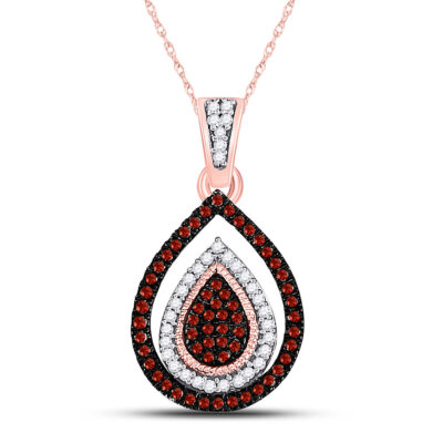 10kt Rose Gold Womens Round Red Color Enhanced Diamond Teardrop Cluster Pendant 1/4 Cttw