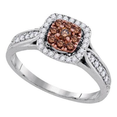 14k White Gold Brown Diamond Cluster Engagement Bridal Wedding Ring 1/2 Cttw