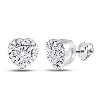10kt White Gold Womens Round Diamond Heart Earrings 1/8 Cttw