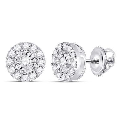 10kt White Gold Womens Round Diamond Stud Earrings 1/4 Cttw