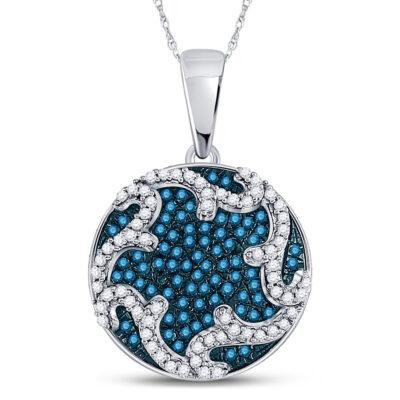 10kt White Gold Womens Round Blue Color Enhanced Diamond Circle Pendant 1/3 Cttw