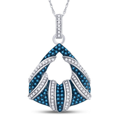 10kt White Gold Womens Round Blue Color Enhanced Diamond Fashion Pendant 1/3 Cttw