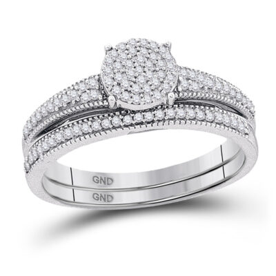 10k White Gold Diamond Cluster Bridal Wedding Ring Band Set 1/4 Cttw