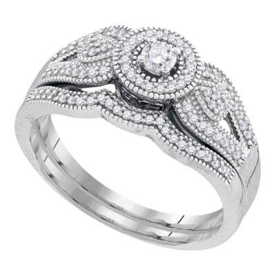 10k White Gold Round Diamond Halo Bridal Wedding Ring Band Set 1/3 Cttw