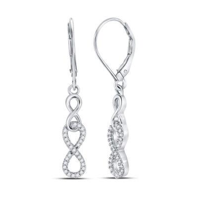 Sterling Silver Womens Round Diamond Infinity Dangle Earrings 1/5 Cttw