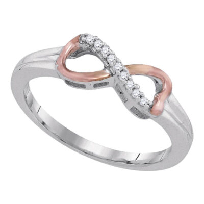Sterling Silver Womens Round Diamond 2-tone Infinity Ring 1/20 Cttw